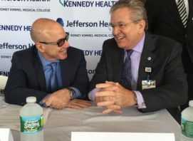 Jefferson CEO Dr. Stephen Klasko (left) and Kennedy CEO Joseph Devine