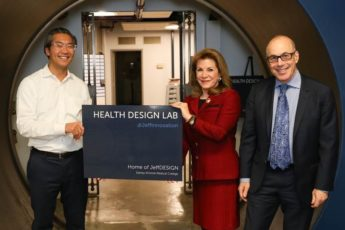 Bon Ku, Donna Gentile O'Donnell and Dr. Steve Klasko at Jefferson's new health design lab