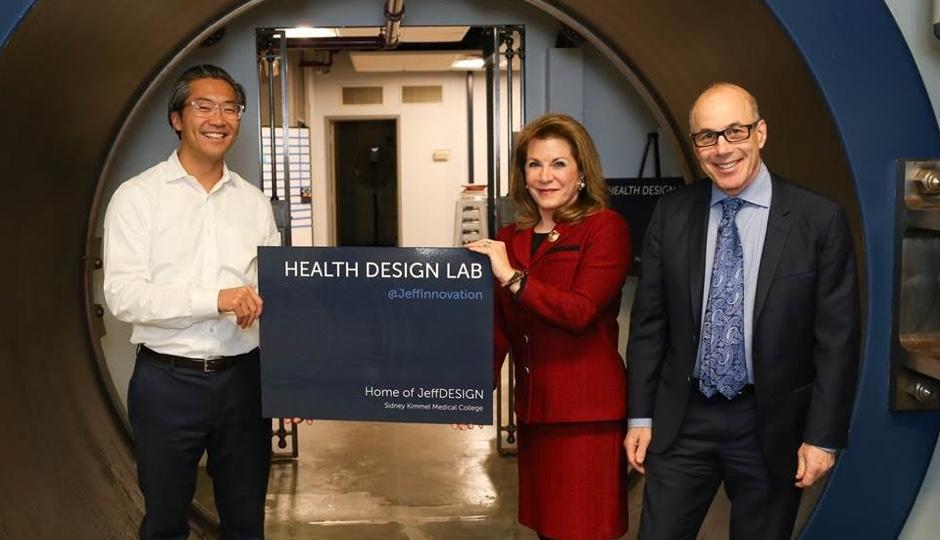 Bon Ku, Donna Gentile O'Donnell and Dr. Steve Klasko at Jefferson's new health design lab